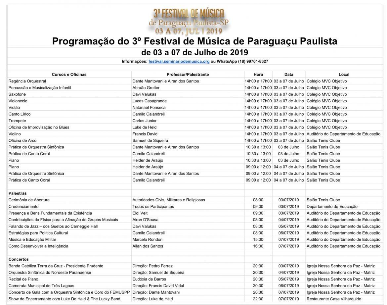 Grade do III Festival de Música de Paraguaçu Paulista